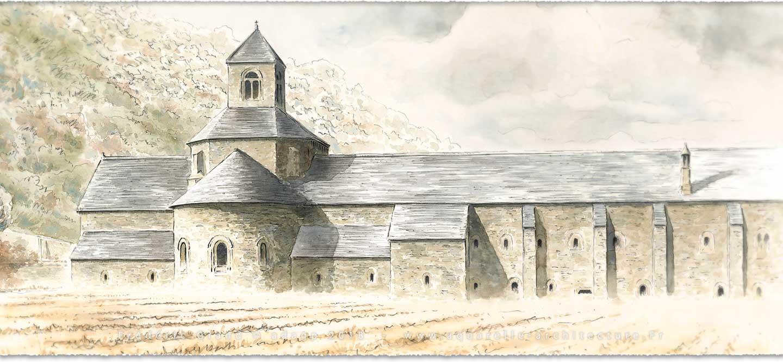 perspective aquarelle et dessin en architecture restauration patrimoine abbaye Senanque Gordes (Var)