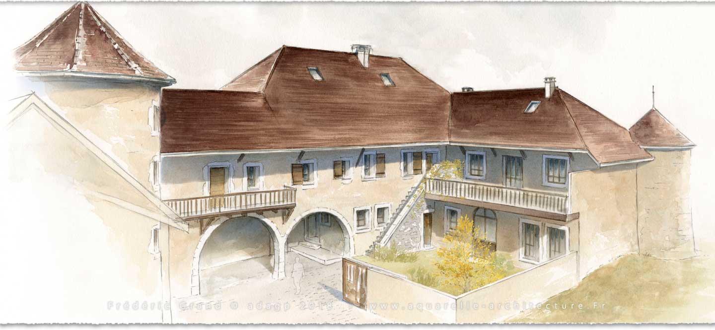 perspective aquarelle et dessin en architecture restauration patrimoine château de Biron (Dordogne)