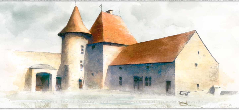 perspective aquarelle et dessin en architecture restauration patrimoine Folie Guillemot Rennes (Ille-et-Vilaine)