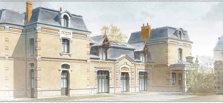 Aquarelle en architecture rénovation château médievale Gibanel Argentat