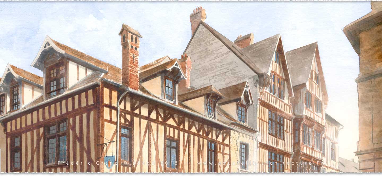 perspective aquarelle et dessin en architecture restauration patrimoine réhabilitation et construction de logements et commerces Valence (Drôme)