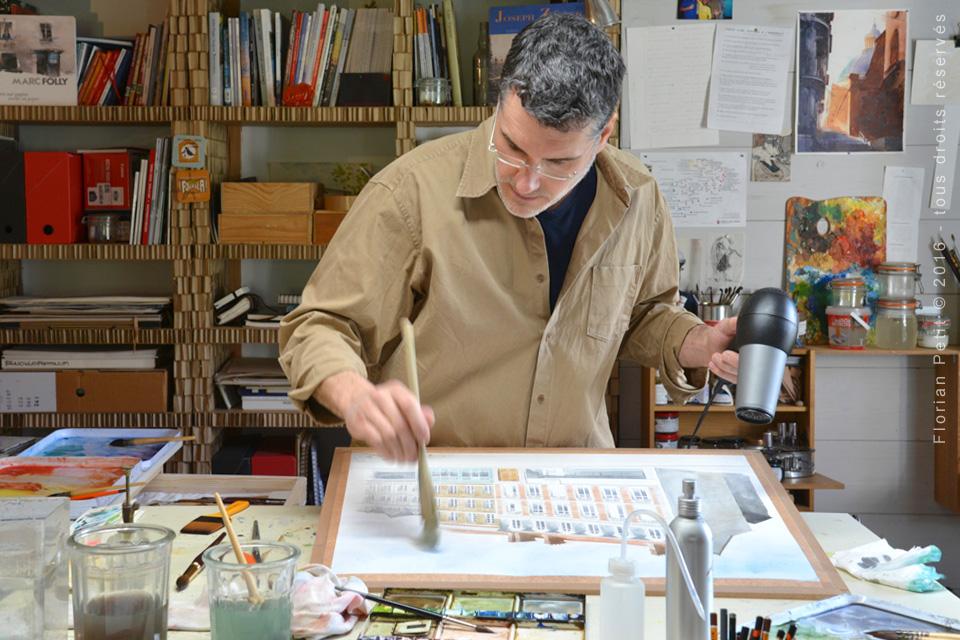 photos atelier Frédéric Grand illustrateur aquarelliste en architecture
