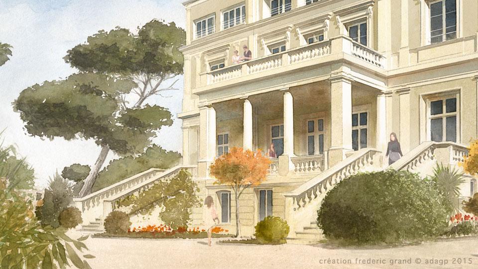 aquarelle en architecture illustration d taill e villa. Black Bedroom Furniture Sets. Home Design Ideas
