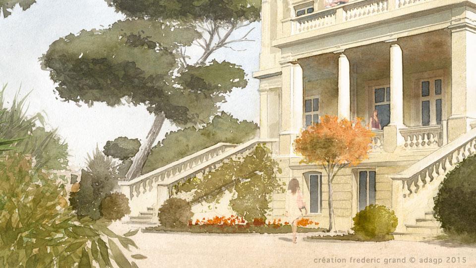 aquarelle en architecture du patrimoine villa les messugues saint rapha l. Black Bedroom Furniture Sets. Home Design Ideas