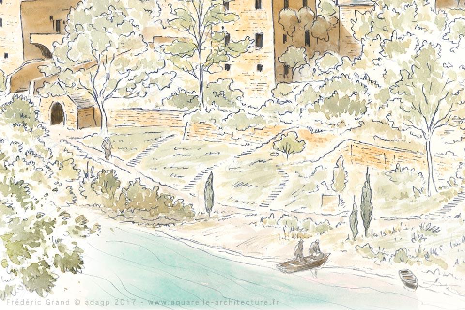 Représentation de l'architecture médiévale d'un hameau du XIII<sup>e</sup> siècle - HAUTERIVES (48)