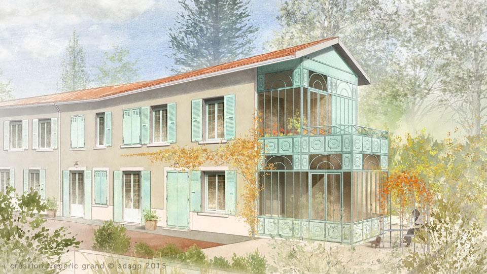 Aquarelle en architecture contemporaine r sidence m lyon - Architecture contemporaine residence parks ...