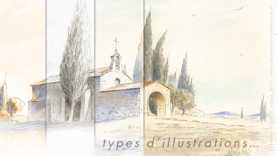 Quatre types d'illustrations pour un projet