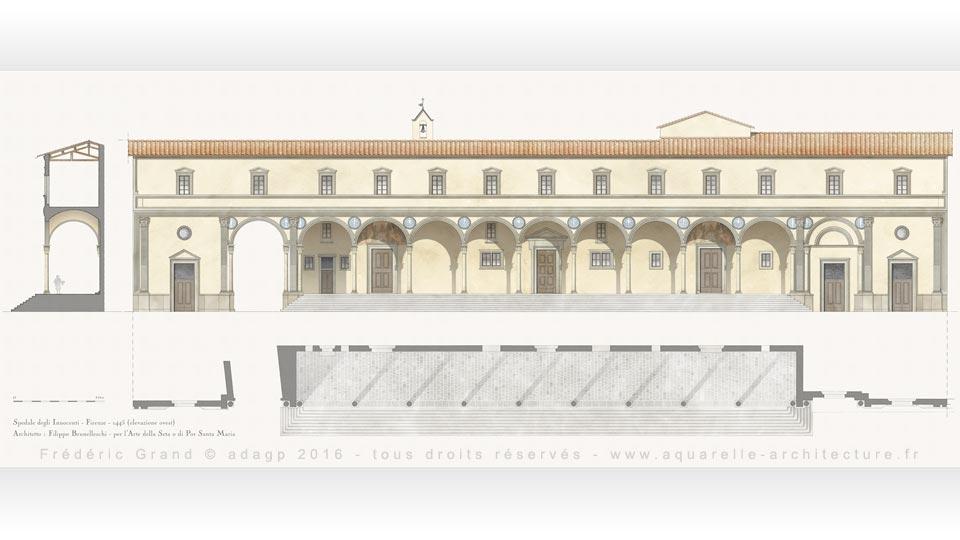 Relevé de l'élévation ouest de l'Hôpital des Innocents (1445) - FLORENCE (Italie)