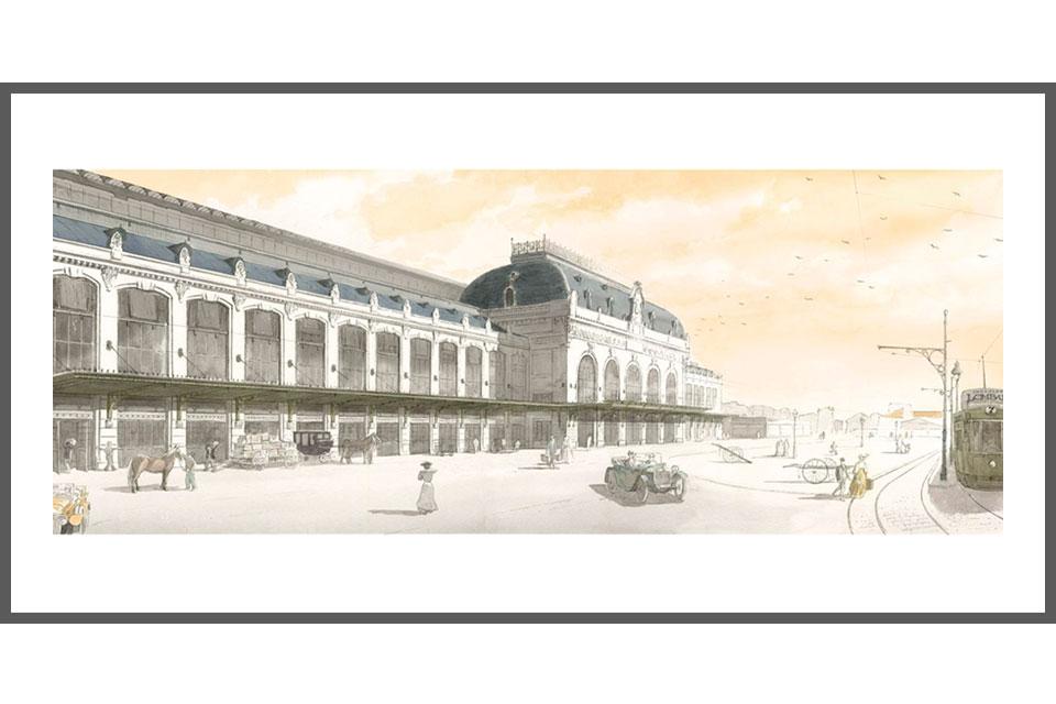aquarelle architecture tirage gare des Brotteaux hall 13 Lyon